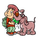 School boy and dog playing. A school boy and a dog are playing cartoon illustration stock illustration