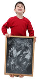 School Boy Drawing on Chalkboard Royalty Free Stock Images