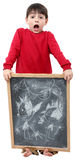 School Boy Drawing on Chalkboard Stock Images