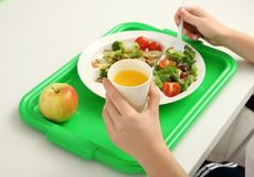 School boy eating delicious food. At table Royalty Free Stock Images