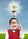 School boy with ecology concept royalty free stock photography