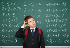 School boy exercise math on board Royalty Free Stock Photography