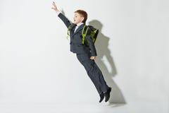 School boy flying Royalty Free Stock Photo