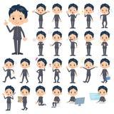 School boy gakuran. Set of various poses of school boy gakuran Royalty Free Stock Image