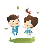 School boy and girl Royalty Free Stock Photo