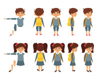 School boy and girl for animation. Vector cartoon style set of school boy and girl for animation. Isolated on white background Stock Photos