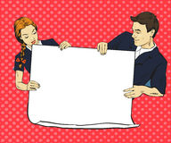 School boy and girl hold blank white paper poster. Vector illustration in comic pop art style. Put your own text Stock Photography