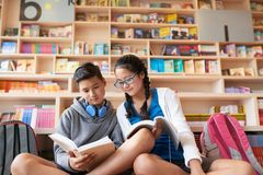 Teenagers studying in library together royalty free stock photography