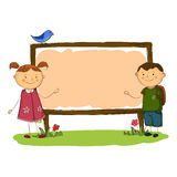 School boy and girl vertical banner simple cartoon style Royalty Free Stock Images