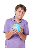 School boy with globe isolated Stock Photography