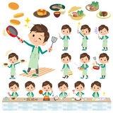 School boy Green Blazer cooking. Set of various poses of school boy Green Blazer cooking Royalty Free Stock Images