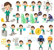 School boy Green Blazer money Stock Photos