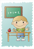 School Boy - Hand-drawn. Hand-drawn (scribbled) illustration of a young boy sitting at his school desk Stock Photo