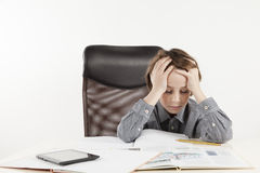 School boy hate learning Stock Photo