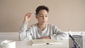 School boy having trouble with his homework.