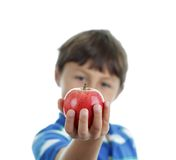 School boy holding an apple Stock Photography