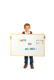School boy holding banner Stock Photo