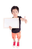 School boy holding a blank whiteboard Stock Photography