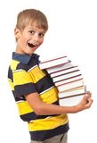 School boy is holding books Stock Images
