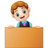 School boy holding a wooden signs. Illustration of School boy holding a wooden signs Royalty Free Stock Photos