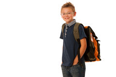 School boy isolated over white background Royalty Free Stock Photo
