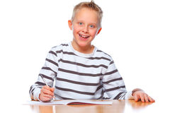 School boy isolated on white background smiling Royalty Free Stock Photo
