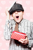School Boy In Love Holding Valentines Day Present Stock Photo