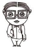 School Boy nerd. Dorky school boy illustration in black pen Royalty Free Stock Image