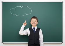School boy with painted cloud having idea Stock Images
