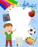 School Boy Photo Frame. Happy boy with school supplies photo frame. Eps file available Royalty Free Stock Photo