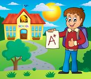 School boy with A plus grade theme 2 Stock Images