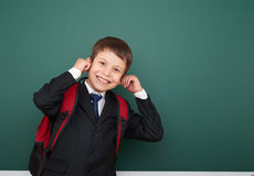 School boy portrait near board Royalty Free Stock Photos