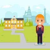 School boy pupil education building student knowledge child flat design vector illustration. School boy pupil education building knowledge student child flat stock illustration
