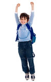 School boy raising his arms in joy Royalty Free Stock Photography