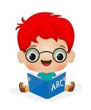 School boy reading. Illustration of a school boy reading Stock Photo