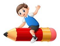 School boy riding a pencil Royalty Free Stock Photos