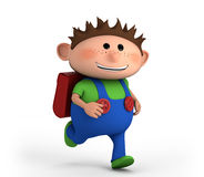 School boy running. Cute school boy running - high quality 3d illustration stock illustration