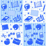 School Boy Seamless Tiles. Four abstract seamless tiles with school supplies. Useful also for scrapbook or patterns. Eps file available Royalty Free Stock Image