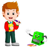 School boy with sharpener cartoon Royalty Free Stock Photos