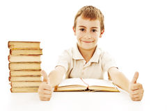 School boy showing thumbs up Stock Photo