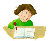 School boy sitting and writing in notebook. Acrylic illustration of school boy sitting and writing in notebook Royalty Free Stock Photos