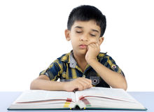 School Boy Sleeping on Book Stock Photo