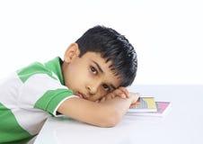 School Boy Sleeping on Book Stock Photos