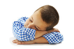 School Boy Sleeping on Desk Royalty Free Stock Photos