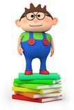 School boy standing on stack royalty free stock photo