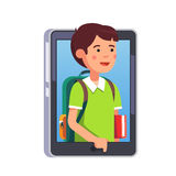 School boy sticking out of smartphone screen. Or tablet computer. Kid video call concept. Modern flat style vector illustration isolated on white background Royalty Free Stock Image