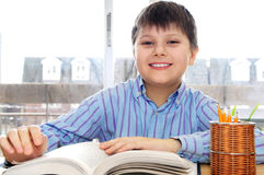 School boy studying. Happy school boy studying with a book Royalty Free Stock Photo