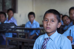 A school boy studying in a class in Kathmandu, Nep Royalty Free Stock Photo