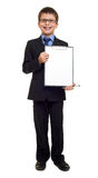 School boy in suit and blank paper sheet in clipboard on white isolated, education concept Royalty Free Stock Photography