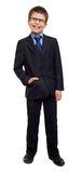 School boy in suit and eyeglasses on white isolated, laugh, education concept Royalty Free Stock Image